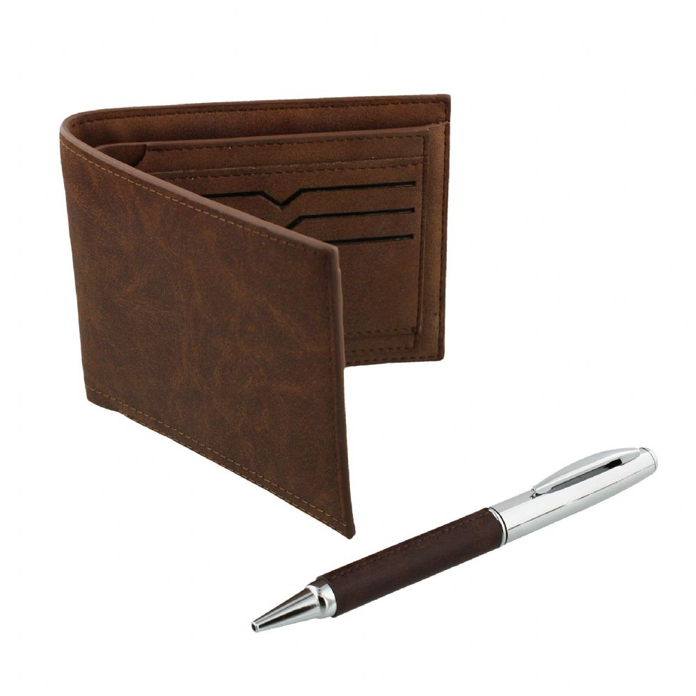 Men's Wallet and Pen Set Vintage Brown Leather and Chrome Accessory Gift Set For Men
